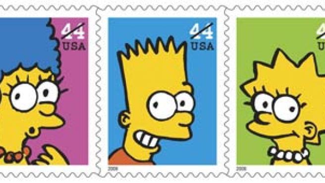 Así son los sellos de los Simpsons.