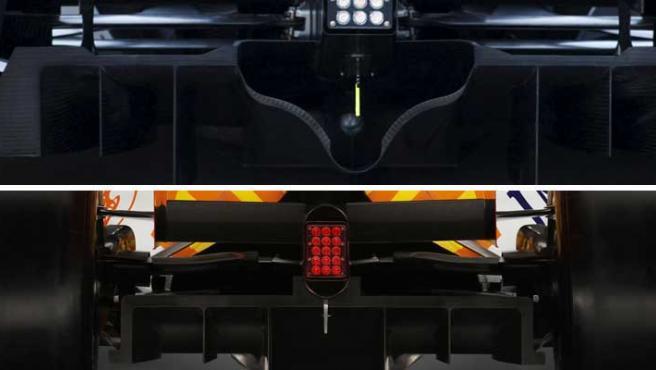 Un detalle de los difusores de Brawn GP (en foto, en la imagen superior) y Renault (en la inferior).