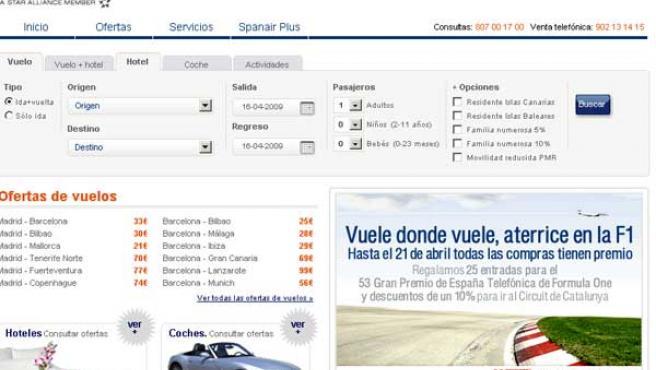 Web de una de las aerolíneas que incumple la normativa.