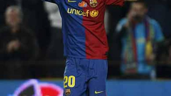 Dani Alves, triunfando en el Barça.