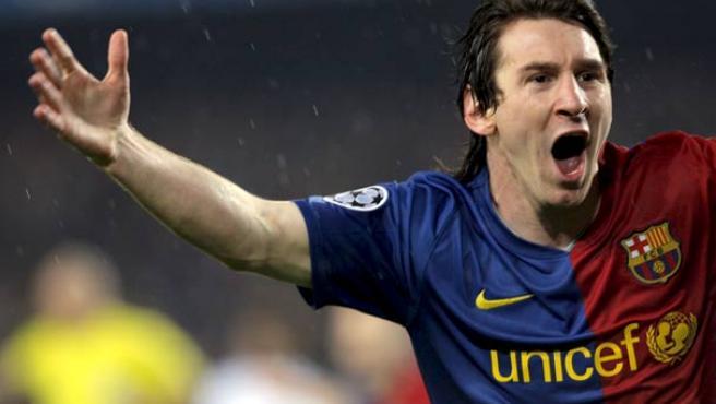 Leo Messi celebra el primer gol ante el Bayern.