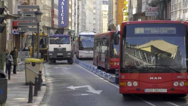 Transporte público en A Coruña.