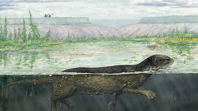 Ilustración de cómo era el Puijila en su habitat.