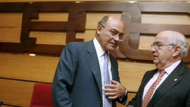 Foto de archivo del presidente y el vicepresidente de la CEOE, Gerardo Díaz Ferrán (izq), y Jiménez Aguilar.
