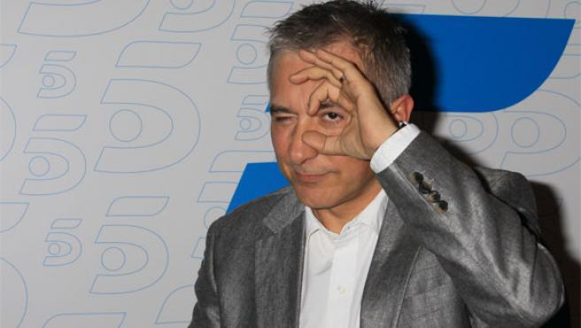 El presentador Javier Sardá, en Telecinco antes de que arrancase el programa