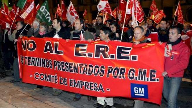 Manifestación de trabajadores de General Motors.