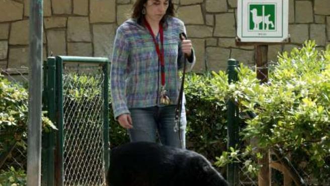 Una mujer pasea su perro por el parque.