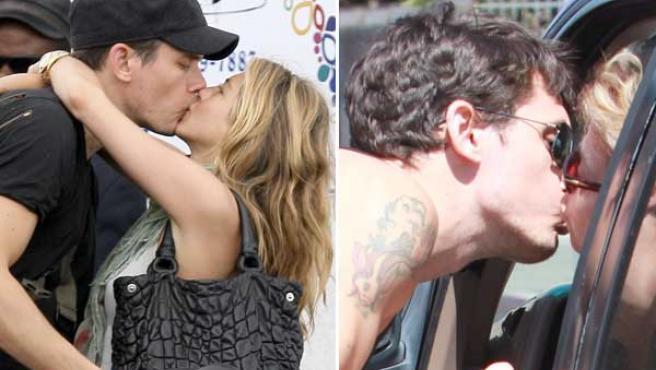 John Mayer con Jennifer Aniston el pasado mes de febrero (a la izda.) y con su nuevo amor.