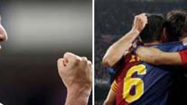 Higuaín y los jugadores del Barça celebran un gol.