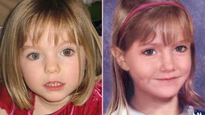 Fotografía de Madeleine con 3 años (izquierda) e imagen de cómo sería hoy día, con unos seis años (derecha).