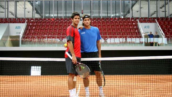 Feliciano Lopez y Fernando Verdasco entrenaron en uno de los Estadios de la Caja Mágica