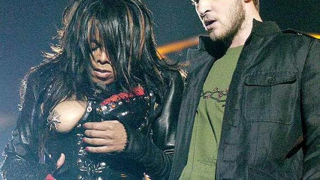 Janet Jackson, durante el incidente de la Super Bowl.