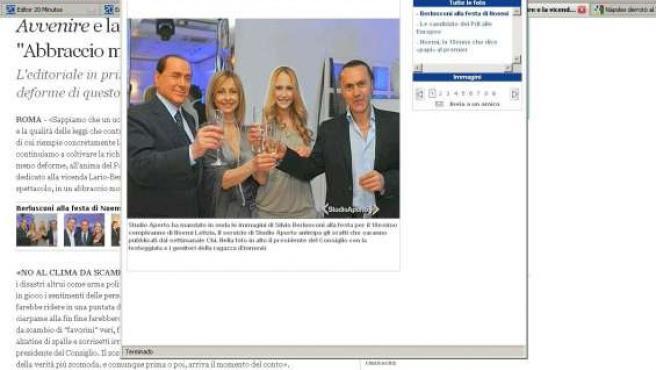 Imagen tomada de Silvio Berlusconi en la fiesta por el 18 cumpleaños de Noemi Letizia.