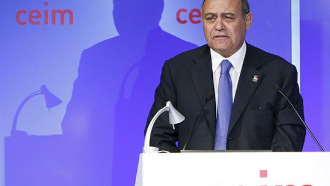 El presidente de la CEOE, Gerardo Díaz Ferrán, durante su intervención en la asamblea de la CEIM.