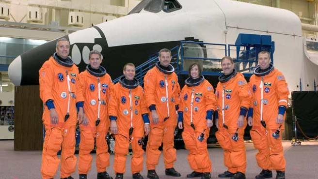 La tripulación del transbordador espacial Atlantis.