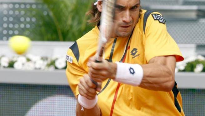 El tenista español David Ferrer devuelve la bola frente al argentino Guillermo Cañas.