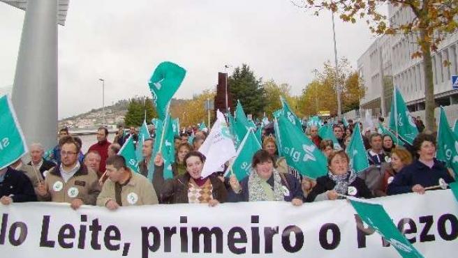 Protesta del sector lácteo gallego.