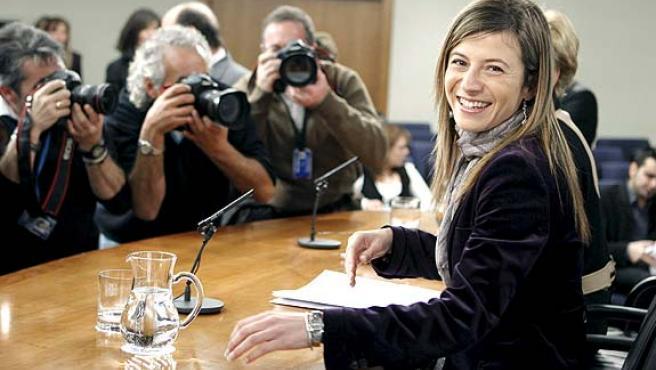 La ministra de Igualdad, Bibiana Aído, durante una rueda de prensa.