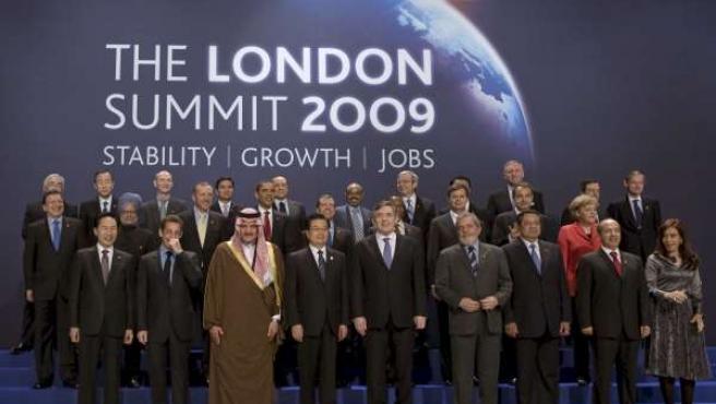 Los presidentes y jefes de estado del G-20, en Londres.