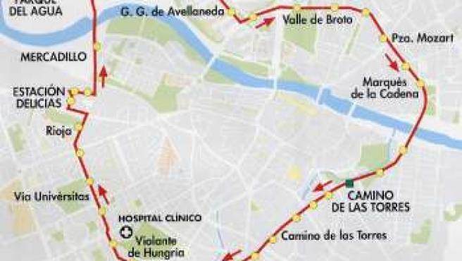 Éste es el itinerario de la línea circular.