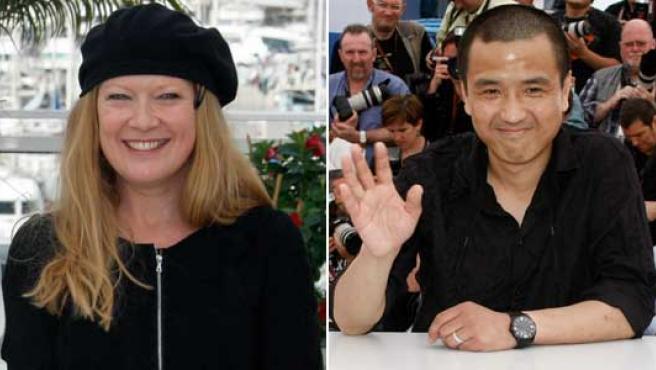 Los directores de cine Andrea Arnold y Lou Ye.