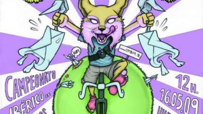 Cartel promocional del Primer Campeonato Ibérico de Mensajeros en Bici.