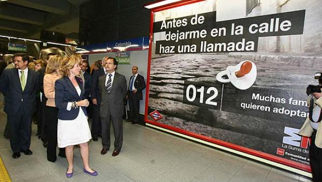 Esperanza Aguirre, en la presentación de la campaña para evitar el abandono de bebés.