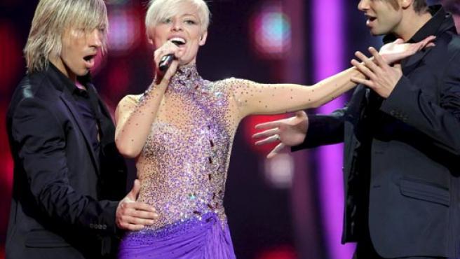 Soraya Arnelas, actuando en Eurovisión.