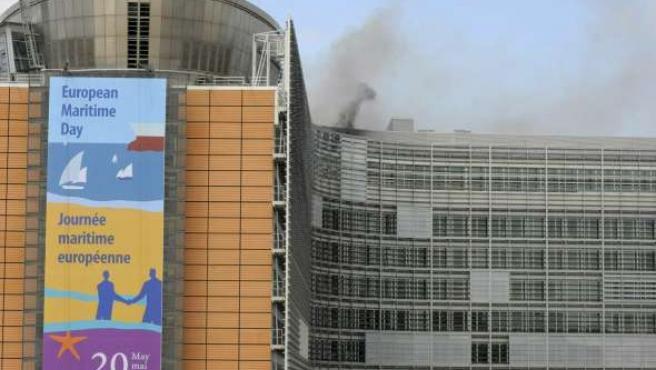 Incendio en el edificio de la Comisión Europea, en Bruselas (Bélgica).