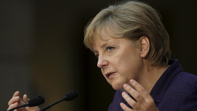 La canciller alemana Angela Merkel en un congreso en Berlín.