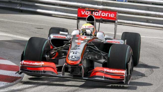 Lewis Hamilton en el circuito de Mónaco.