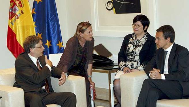 Bill Gates y Zapatero, reunidos en La Moncloa.
