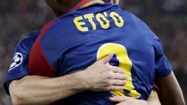 Samuel Eto'o y Leo Messi, los dos autores de los goles del Barcelona en la final de la Champions.