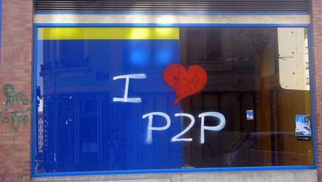 Una pintada en favor de las descargas por P2P.