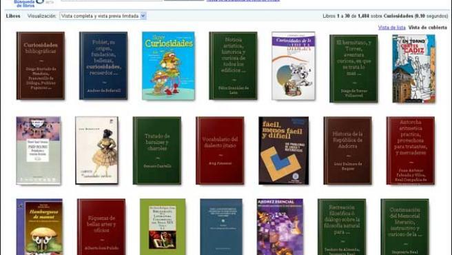 Página de resultados de Google Books.