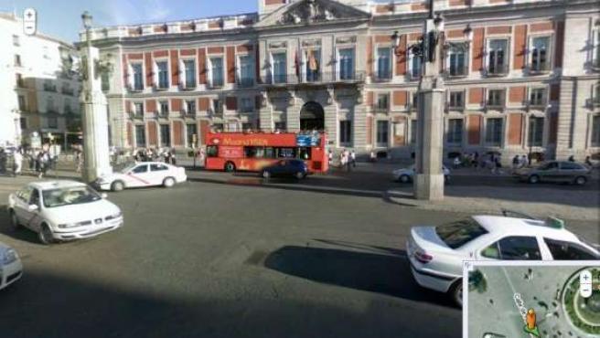 Vista de la Puerta del Sol en Madrid con 'Street View'.