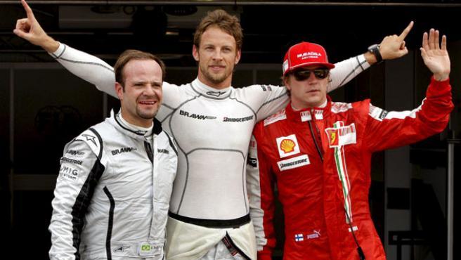 El brasileño Rubens Barrichello, el británico Jenson Button y el finlandés Kimi Raikkonen.