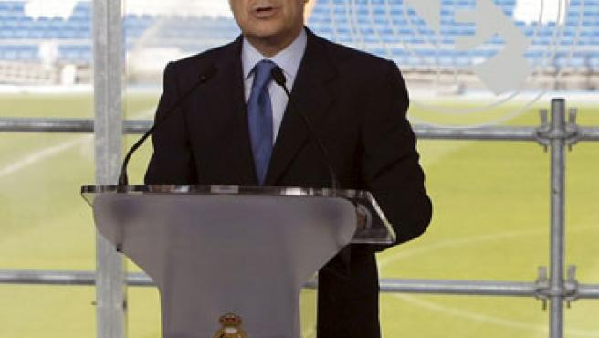 Florentino Pérez, durante su toma de posesión como presidente del Real Madrid.