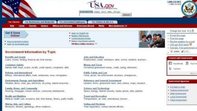 Vista de la página web del Gobierno de EE UU.