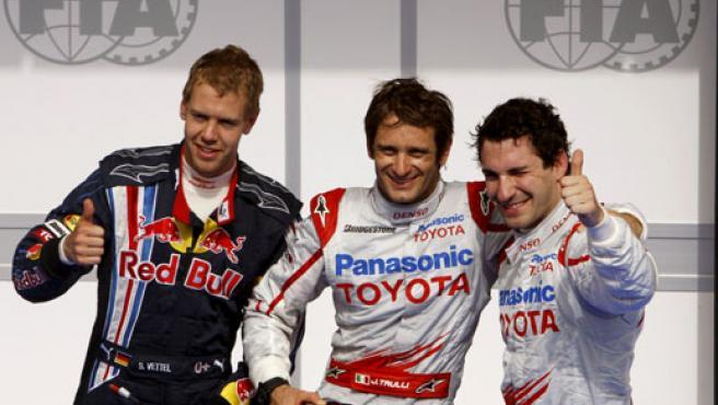 Vettel, Trulli y Glock, en Bahrein.