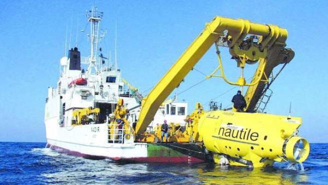 El Nautile en una misión en el Mediterráneo.