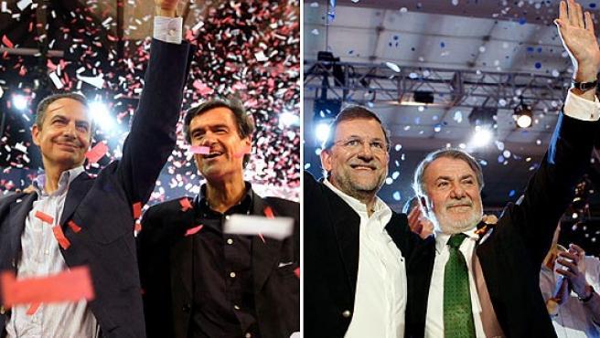 Cierres de campaña del PSOE y el PP, este viernes en Madrid.