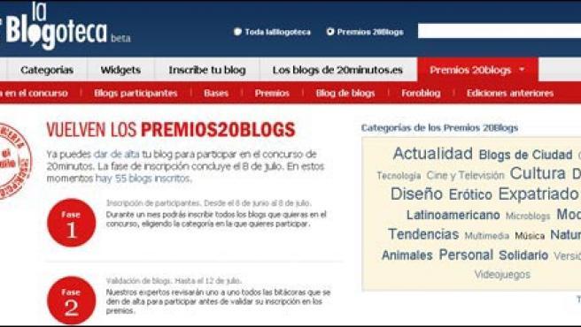 Captura de una de las páginas del nuevo sitio de los Premios 20Blogs.