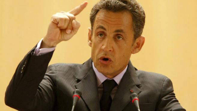 El presidente francés, Nicolás Sarkozy, durante su intervención en Ginebra.