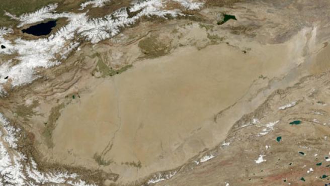 La laguna seca del desierto de Lop Nur, en China.