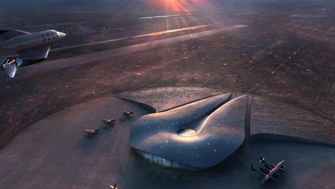 Maqueta del futuro aeropuerto espacial en Nuevo México (EE UU).