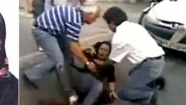 Neda Agha-Soltan. A la derecha, en el momento de recibir el disparo.