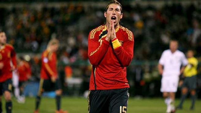 Una imagen del partido de la selección española.