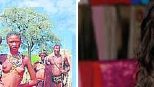 Uno de los pueblos indígenas que aparecen en el programa; a la dcha., Nuria Roca.