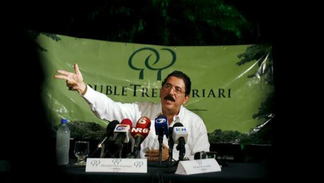 Manuel Zelaya, durante una rueda de prensa que ofreció en Costa Rica.